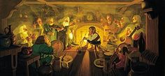 Tolkien Calendar Centerfold 1977 The Unexpected Party, Brothers Hildebrandt