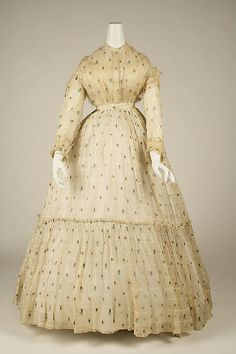 Dress 1860, American, Made of cotton