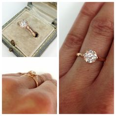 A classic and elegant solitaire in 18kt rose gold. The sparkly center is a 0.92ct old European cut diamond.