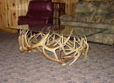 Glass on antlers.
