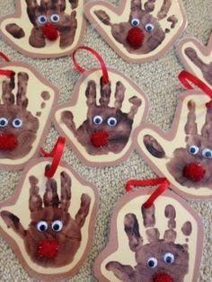 Rudolph handprint ornaments