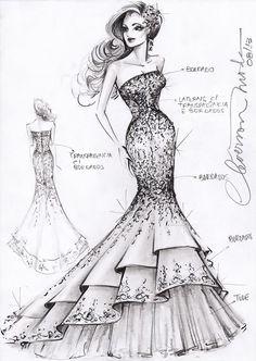 Fashion Sketches On Pinterest Sketches Wedding Dress