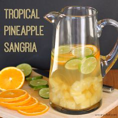 Tropical Pineapple Sangria 750 ml Riesling or Moscato wine 15 oz. can pineapple in juice (not syrup) 1 large orange, sliced into circles 2 limes, sliced into circles ½ c. coconut rum seltzer or club soda, optional Stir together all ingredients except seltzer in a large glass pitcher. Cover and store in refrigerator for at least three hours before serving. Serve over ice, with a splash of seltzer if desired.