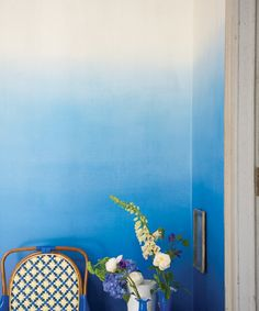 Ombre blue watercolors on the walls