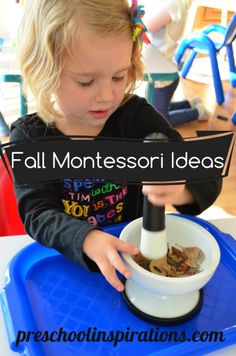 Fall Montessori Ideas by Preschool Inspirations... love the idea of grinding leaves with a mortar and pestle