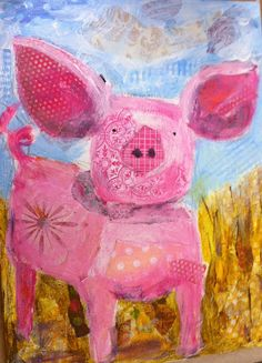 Adorable paint and collage pig little pigs, sleepyhead design, mixed media, kid rooms, collages, paint, mix media, collag process, design studios