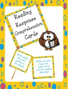 reading comprehension reading response prompt cards
