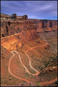 Driving on Shafer Trail Road into Shafer Canyon, Island in the Sky District, Canyonlands National Park, UTAH  - ID# CNYN-1092