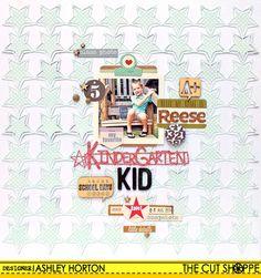 The Cut Shoppe: Kindergarten Kid-using the Star Gazing 12x12 cut file and the Makin' the Grade 1 cut file.