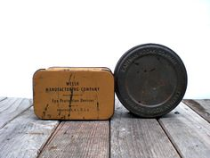 Vintage industrial tins Alternative masculine by WhiteDogVintage, $30.00