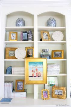 How to Arrange Bookshelves | Get Bookshelf Styling Ideas -- who has that kind of space on their bookshelves! Mine are aaaaaaalways overflowing.