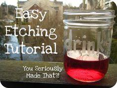 etched glass. craft, glass etching, gift ideas, wine glass, etchings, etch tutori, mason jars, christma, wedding gifts