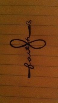 Infinity, faith, and cross tattoo