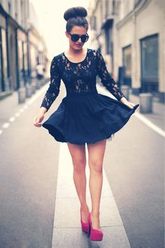 Fashionista, lace top, black lace, flowy skirt, pink pumps, pink heels, top knot, sock bun