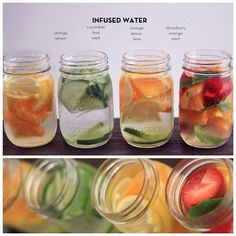 Infused Water: Orange & Lemon Cucumber, Lime & Mint Orange, Lemon & Lime Strawberry, Orange & Mint