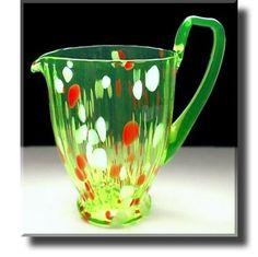 Vaseline Glass / Uranium Glass Colour Inlaid Jug - Murano - Early 20th Century