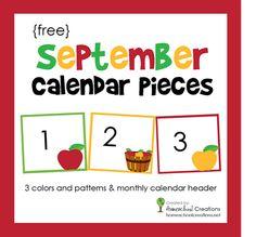 septemb calendar, calendar piec, abstract art, free calendar numbers, pocket chart, preschool calendar, calendar numbers free, september school, printable calendars
