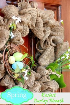 burlap wreaths, craft, front doors, easiest spring, spring burlap