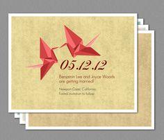 Origami Paper Crane Wedding Save the Date Invitation