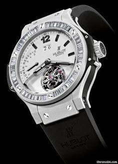 #Hublot Platinum Big Bang Mat Tourbillon Diamond 302.TI.450.RX.194 $115,995 #Hublot #watch #watches #luxury #style #chronograph platinum case with rubber bracelet and manual winding