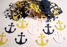 100 Nautical Anchors Navy Blue White Yellow Paper Embellishments Confetti Birthday Party Decorations Favor. $2.85, via Etsy.