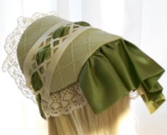 American Girl Doll Clothes - Doll Hat - Dress Bonnet in Green and Cream