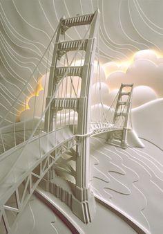 Amazing landscape made out of paper. Bridge by Jeff Nishinaka via StricktlyPaper