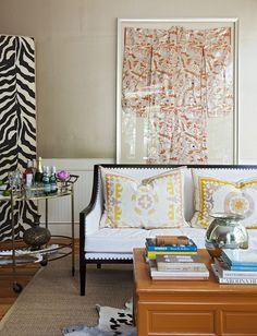 Tara Guérard's Charming Office - love the framed kimona!