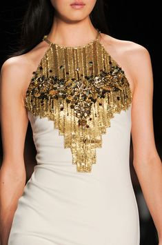 Badgley Mischka Fall 2014 white and gold gown beading