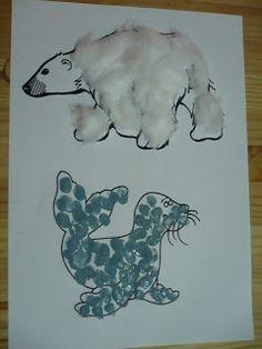 Maro's kindergarten:Polar bear and seal craft