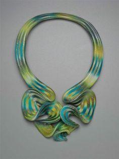 "Elise Winters, USA: ""Citron Cascade Ruffle"" neckpiece. polymer clay"