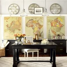 classroom map decor, the office, vintage maps, art, ballard designs office, world maps, antique maps, home offices, canvases