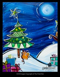 Funky Presents Under the Tree Painting - Jackie Schon, The Paint Bar