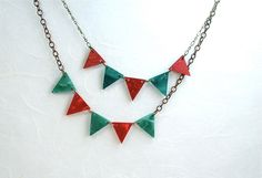 Christmas Red and Green Pennant Bunting Necklace. $39.00, via Etsy.