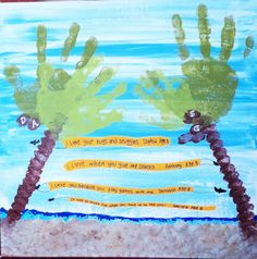 Father's Day Palm Tree Hand Prints - Beach Theme :)