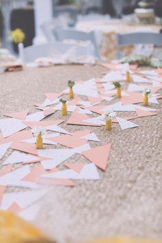 geometric paper table runner, photo by Mackensey Alexander http://ruffledblog.com/the-notwedding-savannah #weddingideas #tablerunner #reception