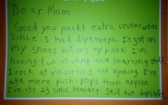 Hilarious letter from kid at camp- be sure to click through to see second page!