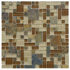 Merola Tile Tessera Versailles Brixton 11-3/4 in. x 11-3/4 in. Glass and Stone Mosaic Wall Tile