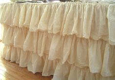 Tableskirt made from ruffled shower curtain!