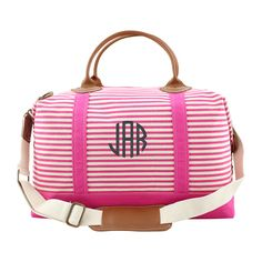 Personalized Hot Pink Stripes Weekender