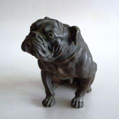 ANTIQUE ORIGINAL AUSTRIA VIENNA SMALL BRONZE SEATED BULLDOG FIGURINE 19TH C. | eBay