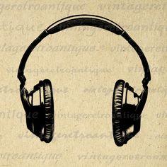 Digital Printable Headphones Graphic Music by VintageRetroAntique, $3.50