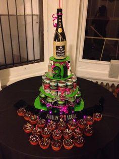 21st bday alcohol cake