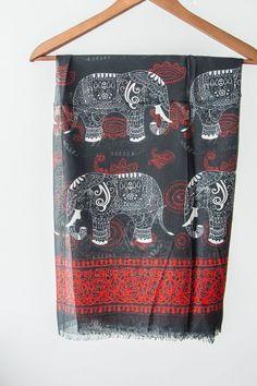 Elephant Scarf Elephant Print Scarf Elephant Pareo Boho Scarf Boho Pareo Black Scarf Black Pareo Beach Pareo Indian Scarf Indian Fabric