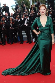 Lea Seydoux in an emerald Prada gown.