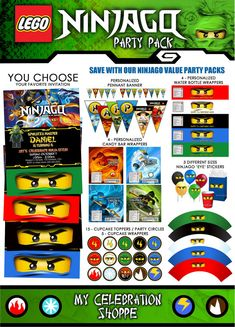 NINJAGO Invitation, Ninjago Birthday, Ninjago Party Printable, Ninjago Decor Pack (Assorted Ninjas) via Etsy