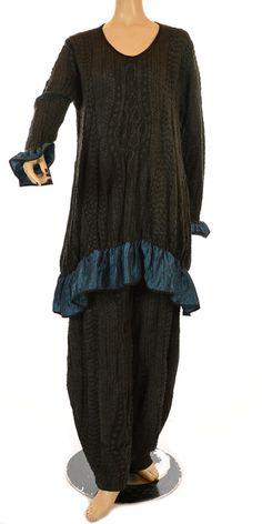 Yiannis Karitsiotis Limited Versions Anthracite & Petrol Blue Tunic-Yiannis Karitsiotis, lagenlook, womens plus size UK clothing, ladies plus size lagenlook fashion clothing, plus size coats, plus size dresses, plus size jackets, plus size trousers, plus size skirts, plus size petticoats, plus size blouses, plus size shirts, plus size tops, plus size tunics, lagenlook plus size fashion clothing