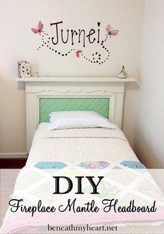 fireplace mantle headboard for a little girl's room... so sweet! By Beneath My Heart