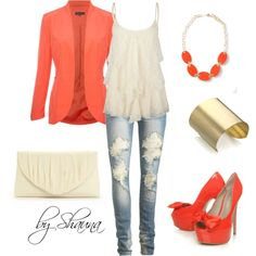 """""""Salmon and lace"""" by shauna-rogers on Polyvore"""
