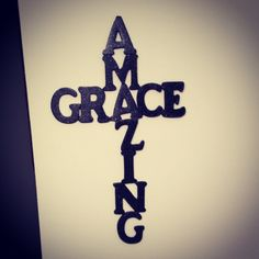 Amazing Grace diy cross sign. @Hobby Lobby wooden letters, glitter paint, and a glue gun.